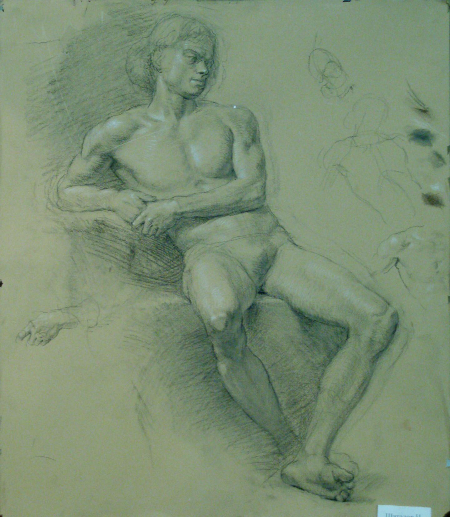 Николай Шаталов - Sitting male nude