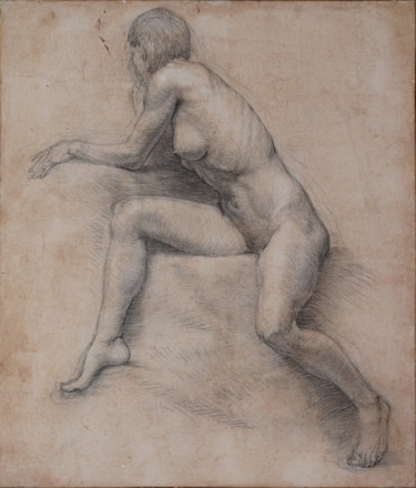 Sitting female nude. Study drawing.