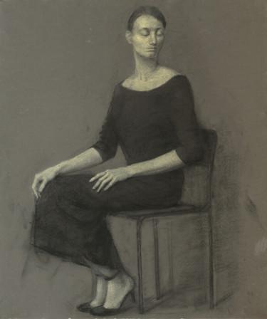 Sitting woman.